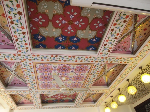 beautiful painted ceilings at the Nahargarh Haveli in Jaipur