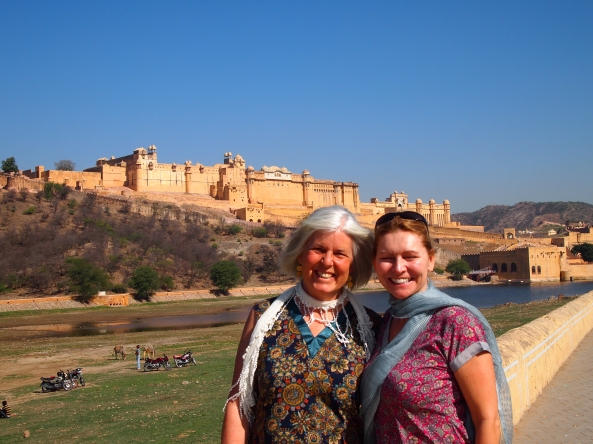 Me & Jayne, with the Amber Fort behind