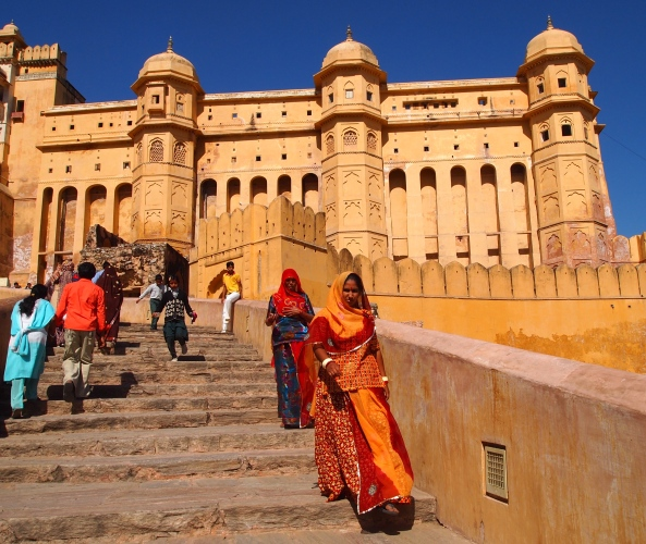 going up the steps of the Amber Fort