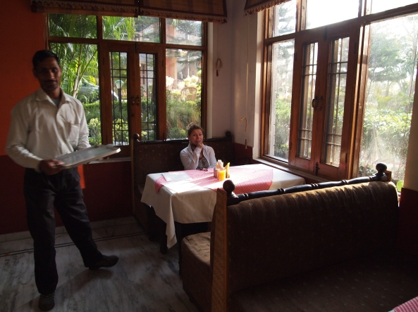jayne in our the lovely breakfast room in rishikesh