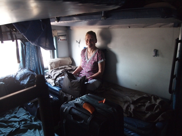Jayne in our sleeping compartment onboard the train