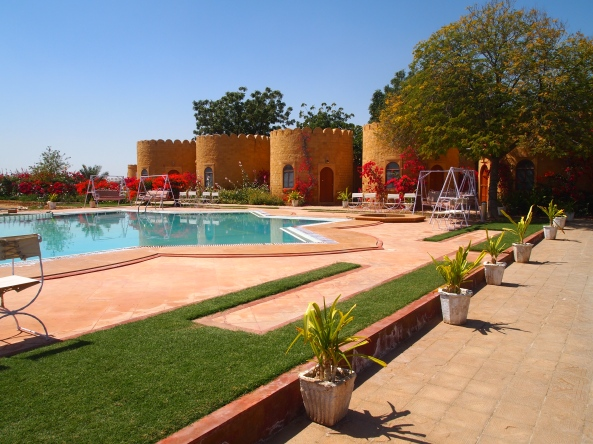 the pool at our hotel ~ Himmatgarh Palace