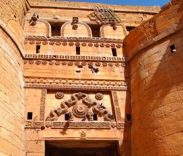 the elaborately carved entry to Jaisalmer Fort