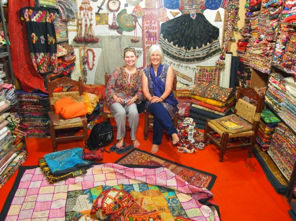 """Jayne and I in the shop buying Indian """"welcome"""" door hangings"""