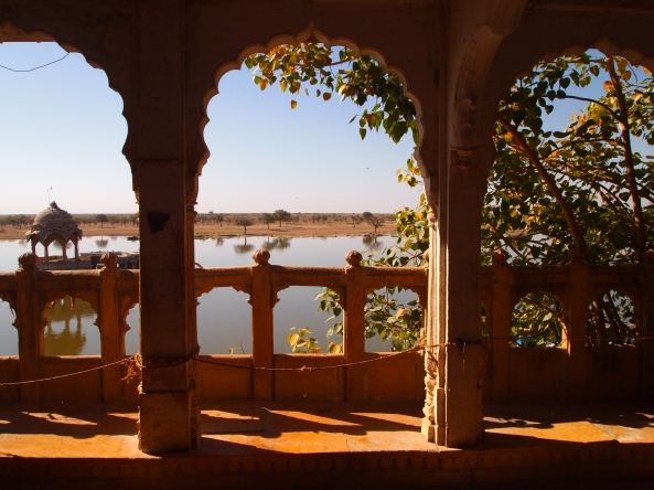 looking out from the Jain Temple to the lake