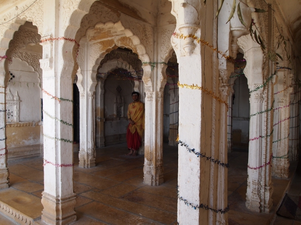 a monk in the jain temple at Gadi Sagar