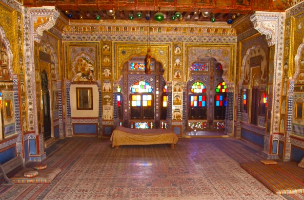 one of many beautiful rooms at Mehrangarh Fort