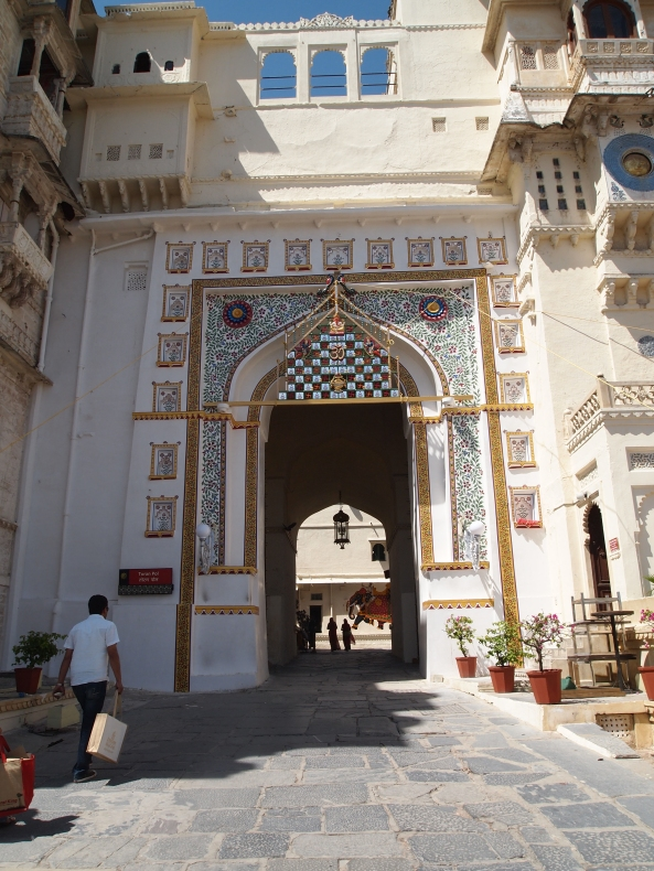 a gate to the City Palace in Udaipur