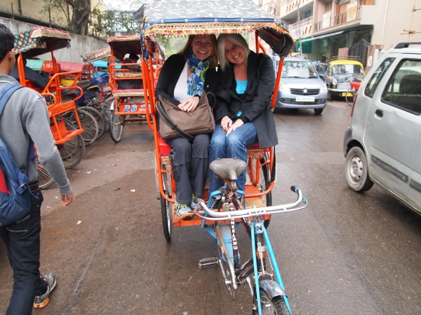 jayne and i in the cycle-rickshaw heading to jama masjid