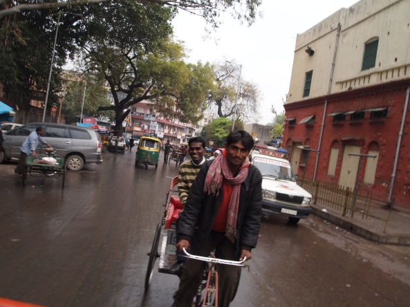 K. Lal in his cycle rickshaw follows behind us