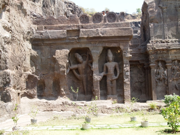 flanking the entrance of Cave 16 at Ellora Caves