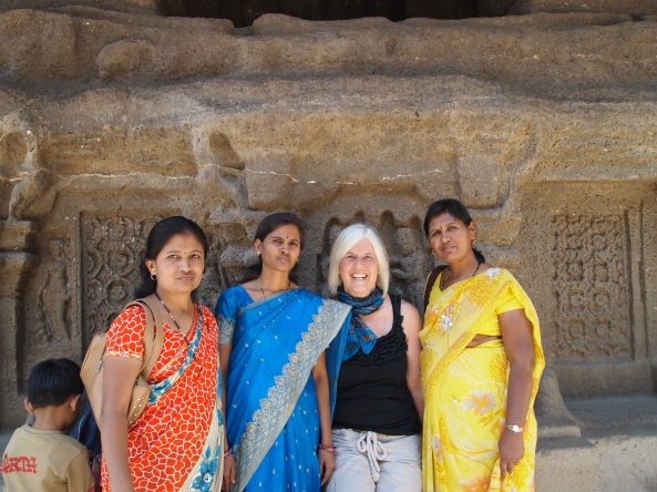 posing with some local ladies at Kailasa Temple ~ Cave 16