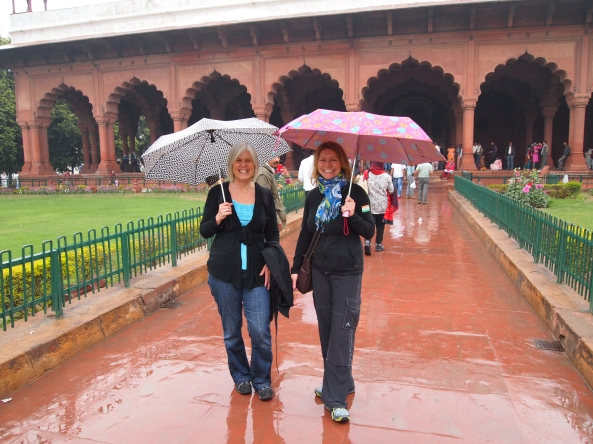 in the rain at the red fort