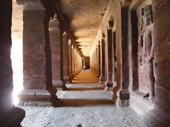 colonnaded arcade around the perimeter of Kailasa Temple ~ Cave 16