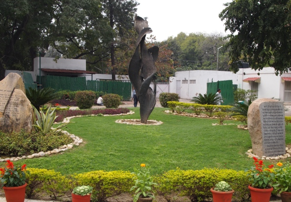 In the garden at the Gandhi Memorial