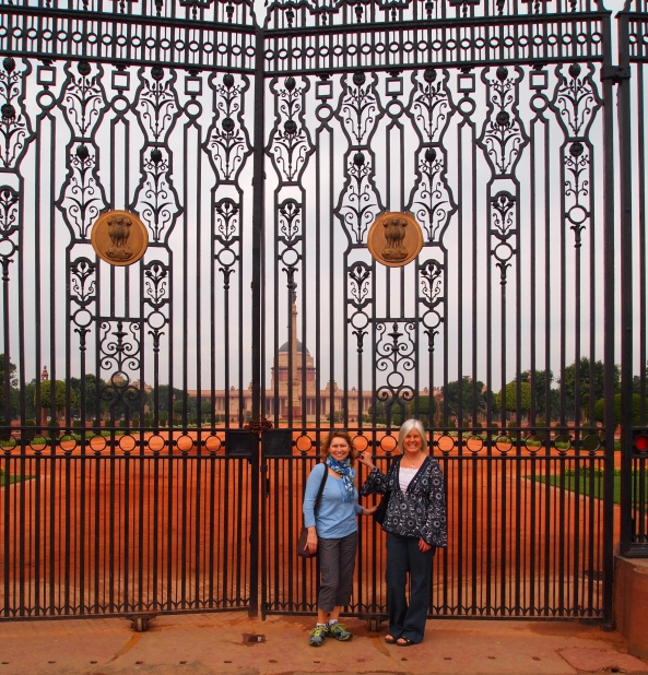 Jayne and I at the gate to the Presidential Palace