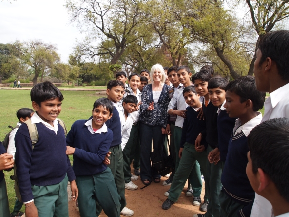 one of many photos with schoolboys at humayun's tomb