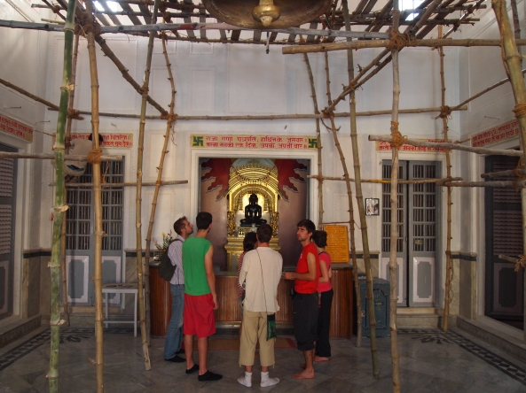 bamboo scaffolding inside the Jain temple for painting