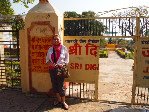 Jayne at the gate of Sri Digamber