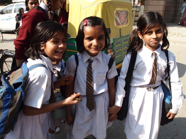 schoolgirls outside the buddhist monastery