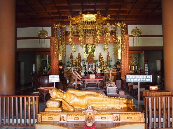the reclining buddha at the japanese temple