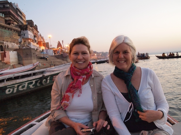 Jayne and me: sunrise boatride on the Ganges