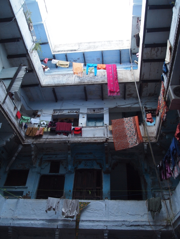 the courtyard outside of Ajay's silk business