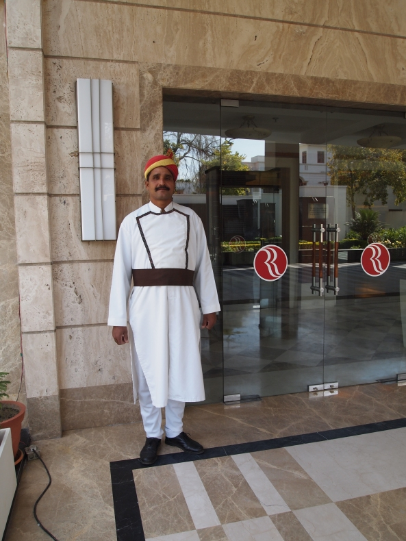 goodbye to the doorman at the ramada in varanasi