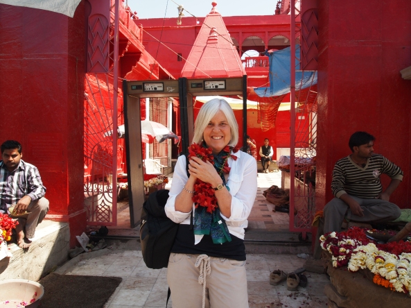 the mysterious red-painted temple where we're not allowed in because we're not Hindu