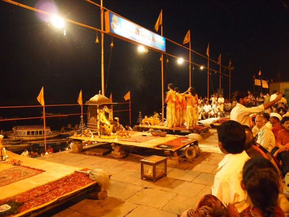 waiting and waiting for the ganga aarti ceremony