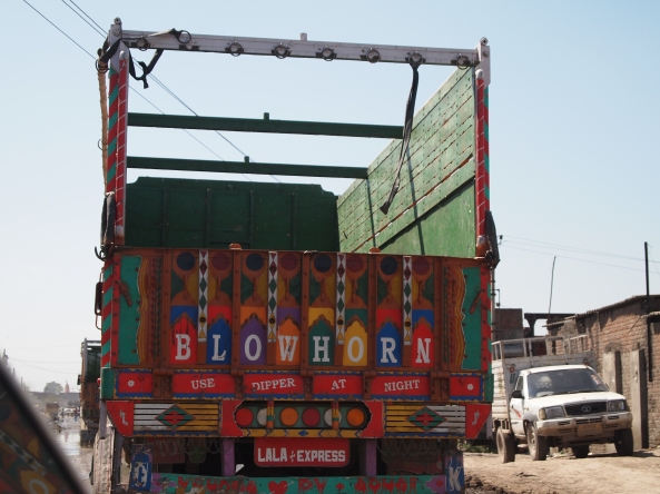 typical brightly-painted Indian trucks