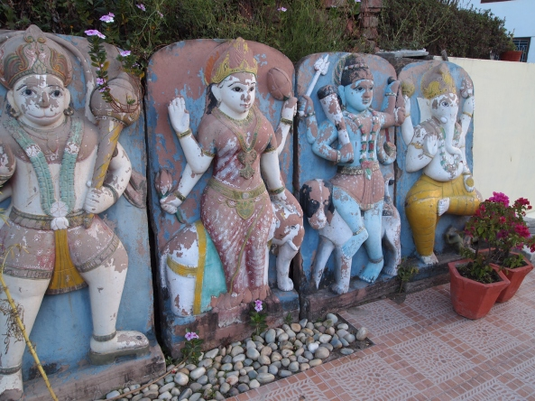 Hindu gods and goddesses (?) at the Hotel Divine Resort.
