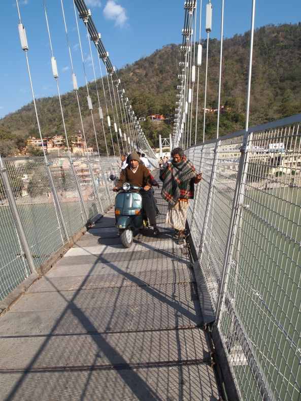 Ram Jhula (suspension bridge) ~ SUPPOSED to be pedestrian-only....