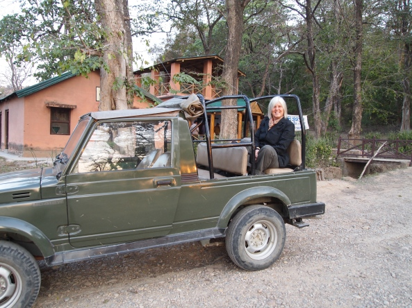 "me in our jeep for the tiger ""safari"""