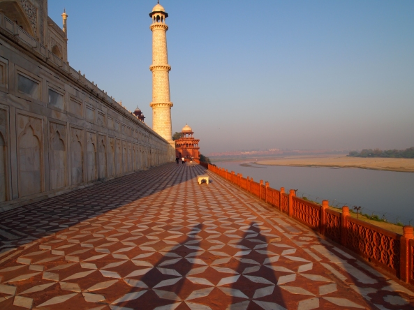 the backside of the Taj Mahal, looking out over the river toward Agra Fort