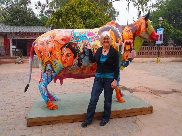 at Dilli Haat with the ubiquitous cow