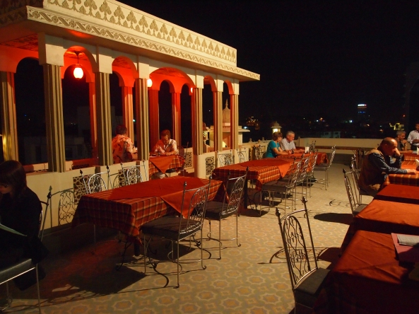 the rooftop of Nahargarh Haveli where we eat some snacks and watch the puppet show