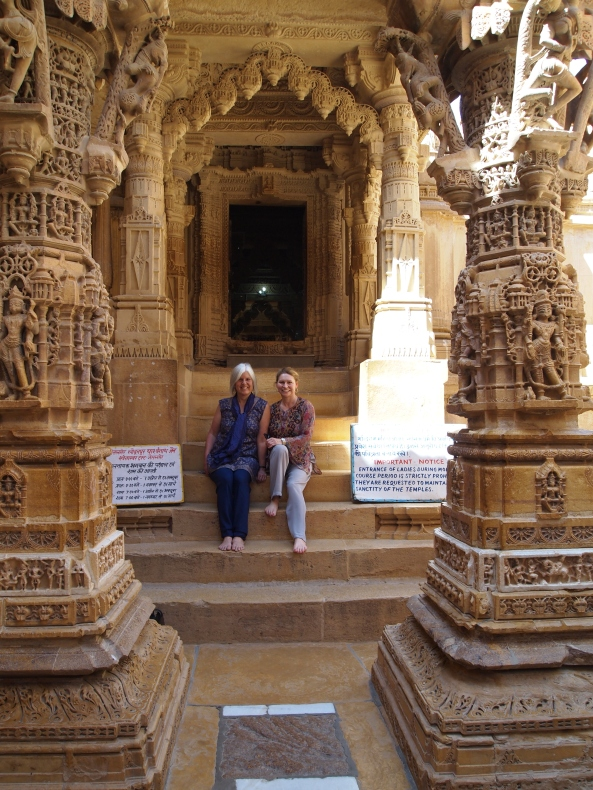 on the steps of a jain temple