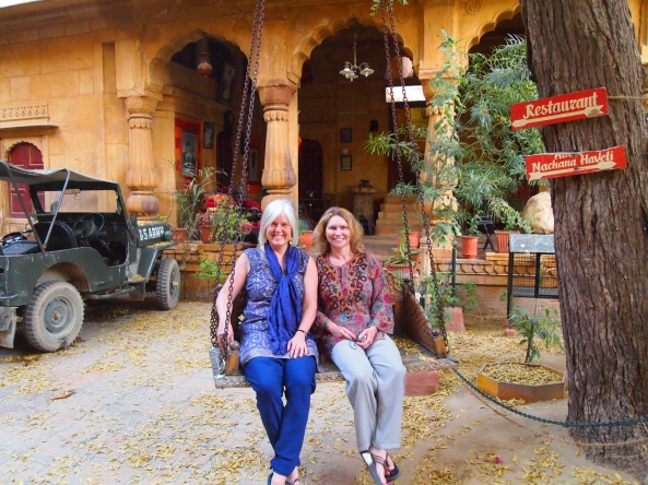 In the Nanchana Haveli courtyard, where we eat dinner at the rooftop restaurant Saffron