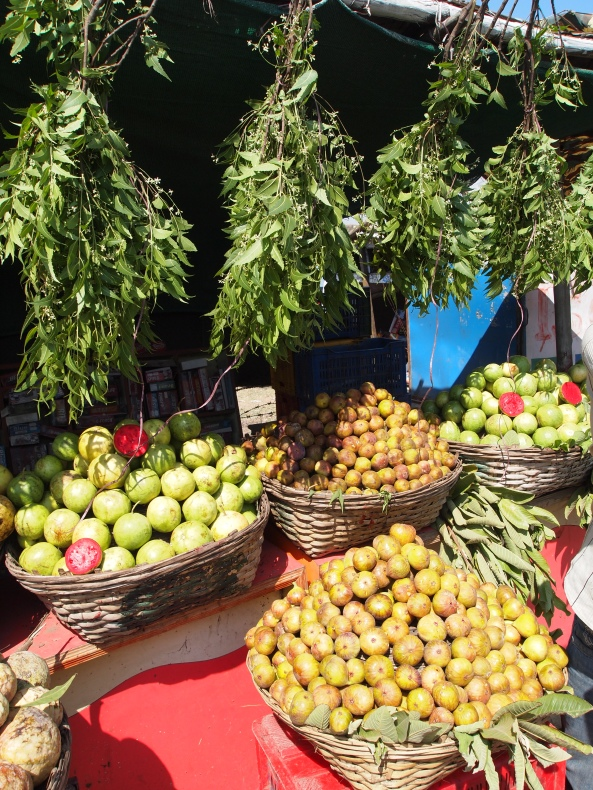 off-limit fruit stands in front of Daulatabad