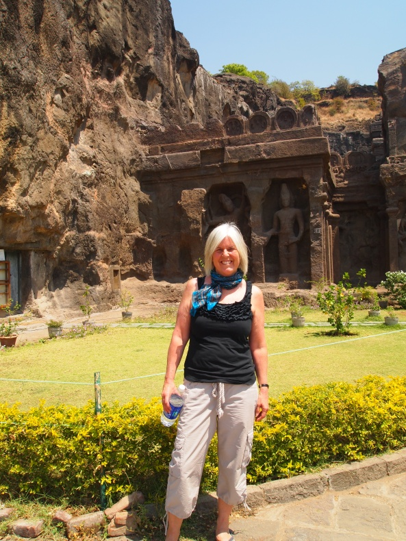 at the entrance to the Kailasa Temple ~ Cave 16