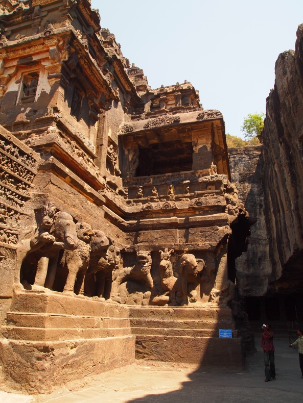 the courtyard and carvings of Kailasa Temple