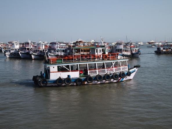 fishing boats off Sassoon Dock in Mumbai Harbor