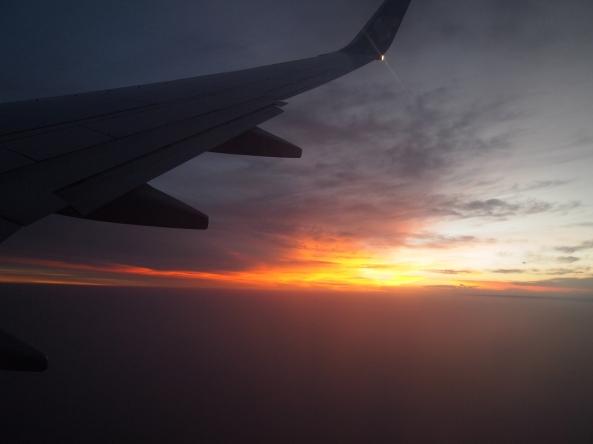 sunset as we fly into Kathmandu