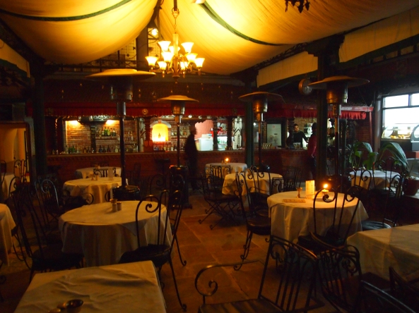 the outdoor dining room at Kathmandu Guest House