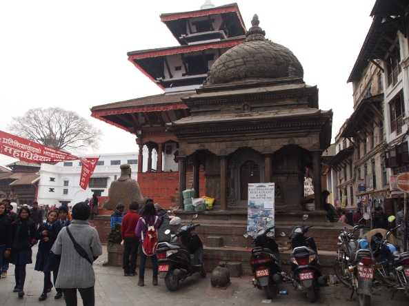 Trailokya Mohan Narayan Temple stands behind the domed pavilion in Durbar Square
