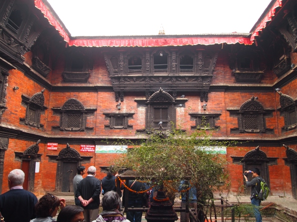 Kumari Chowk: the top center window is where the Kumari finally appears for a showing