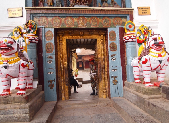 the entrance to the Old Royal Palace is through the Hanuman Dhoka (Hanuman Gate)