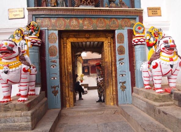 the entrance to the Old Royal Palace is through the Hanuman Dhoka (Hanuman Gate)