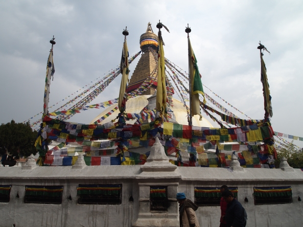the Boudha with prayer flags